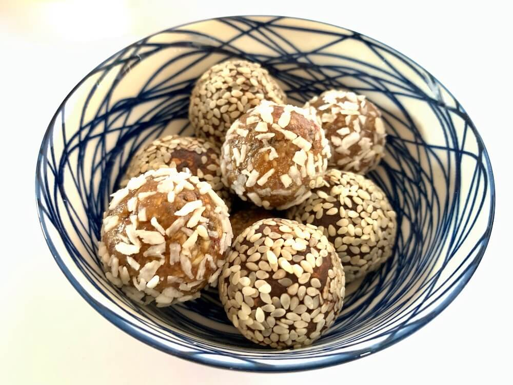 Bowl of vegan energy balls