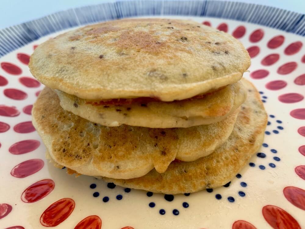 Four gluten free vegan pancakes