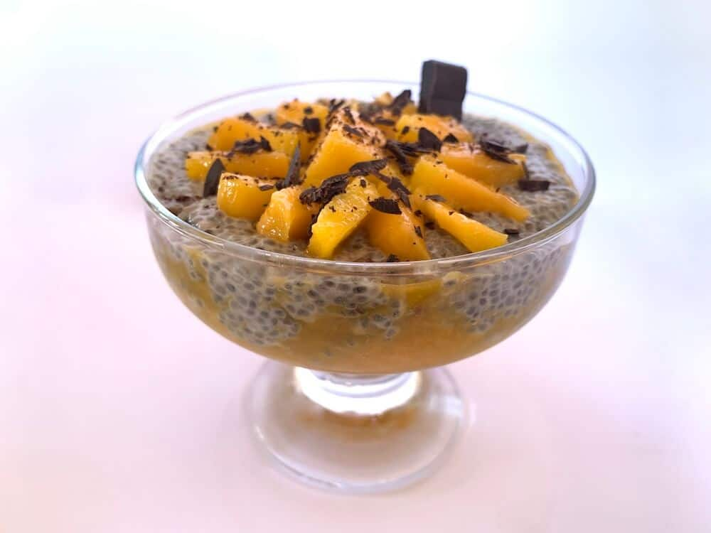Bowl of chia and mango pudding