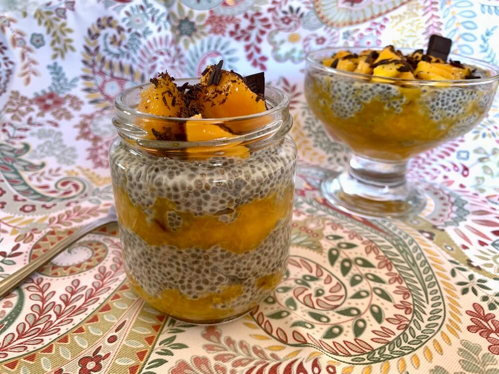 Two bowls of chia seed pudding