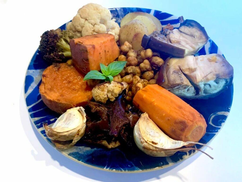 Plate of oil free roast vegetables