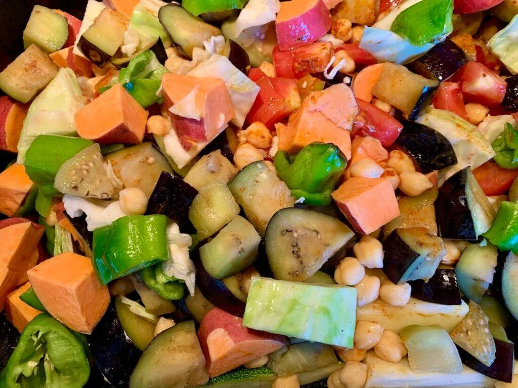 Bite sized vegetables in a baking tray