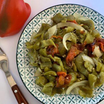 Plate of roasted pepper salad