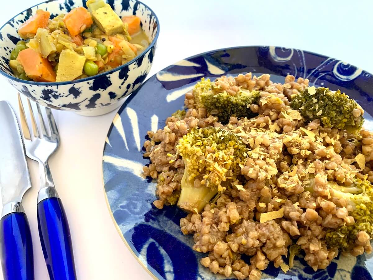 Buckwheat with broccoli, served with a side of sweet potato & lentil curry