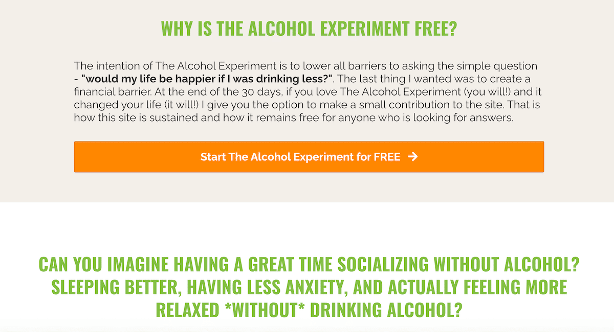 Change your relationship with alcohol by joining the alcohol experiment by Annie Grace, for free