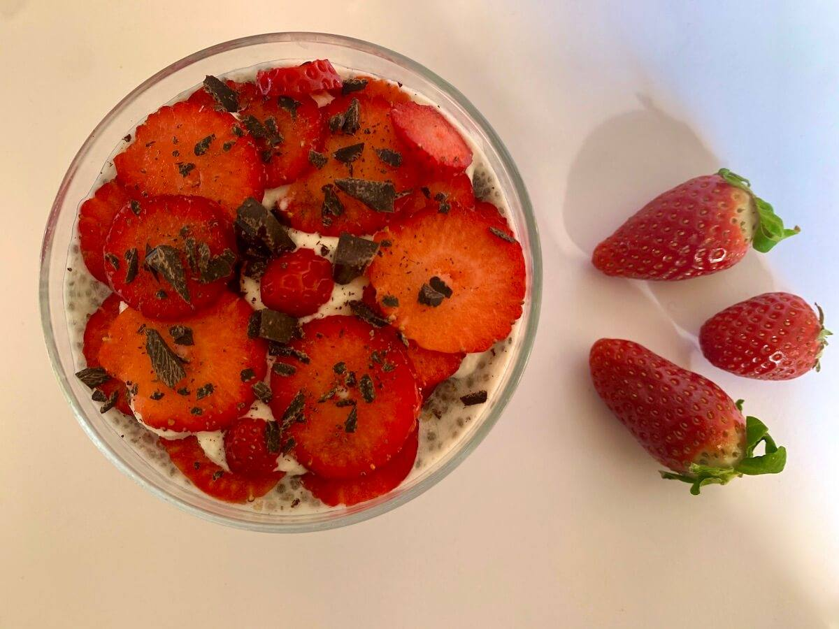 View from above of strawberry chia seed pudding in a bowl