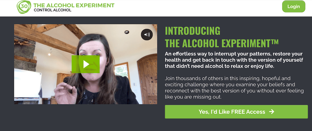 The alcohol experiment webpage where you can change your relationship with alcohol