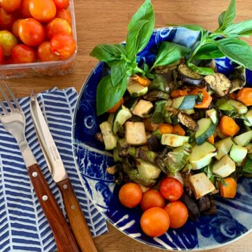 Air fried vegetables with cherry tomatoes
